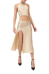 Laetitia Stretch Silk Slit Skirt with Crystal Belt - Champagne Gold