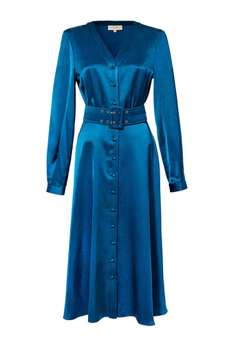 Satin Button Front Dress - Blue