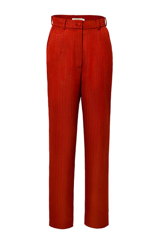 Skinny Silk Cotton Trousers - Red
