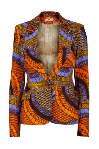 Vivienne Fitted Blazer - Orange/Blue