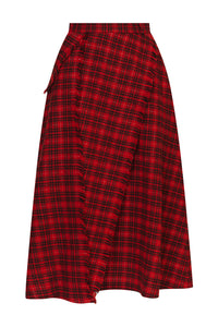 Flared Plaid Wool Skirt