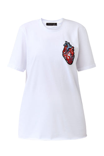 Heart Appliqué Tee Shirt - White