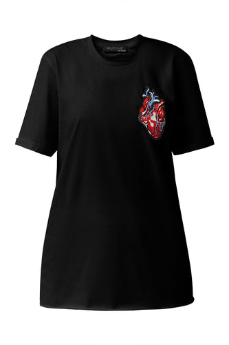 Heart Appliqué Tee Shirt - Black