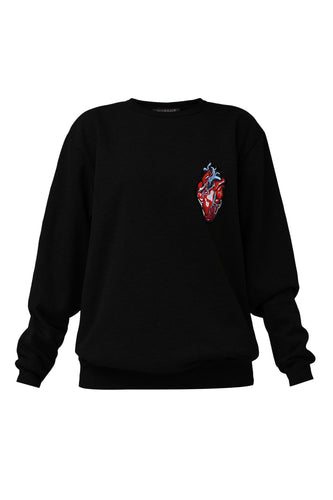 Heart Appliqué Sweatshirt - Black