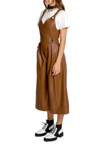 Eco Leather Cropped Jumpsuit - Brown