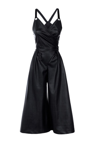 Eco Leather Cropped Jumpsuit - Black