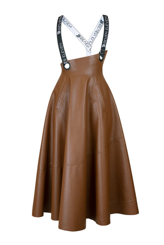 Eco Leather Suspender Midi Skirt - Brown