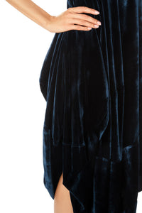 One Shoulder Velvet Balloon Dress