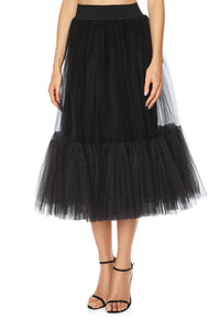 Net Ruffle Skirt - Black