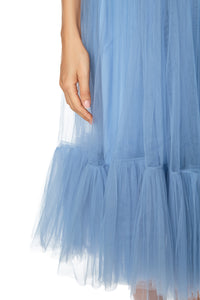 Net Ruffle Skirt - Blue