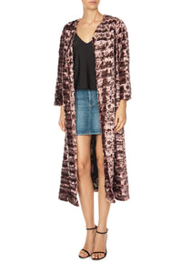 Long Quilted Faux Fur Coat