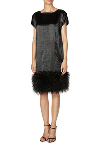 Faux Fur Trimmed Shift Dress