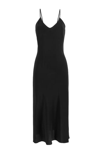 Natasha Silk Slip Dress - Black