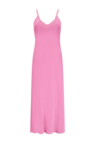 Natasha Silk Slip Dress - Pink