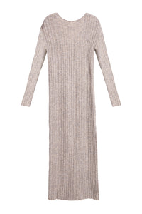 Slim Ribbed Knit Boatneck Dress