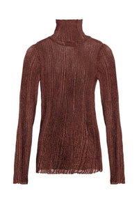 Ribbed Knit Turtleneck - Chocolate