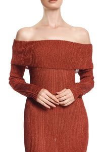 Slim Ribbed Knit Off Shoulder Dress