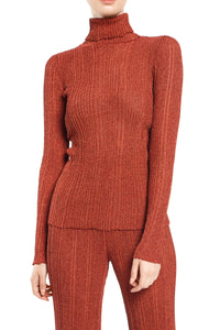 Ribbed Knit Turtleneck - Pumpkin