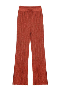 Ribbed Knit Pants - Pumpkin