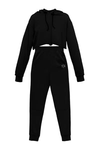 Cropped Hoody and Joggers - Black