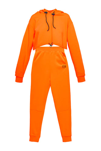 Cropped Hoody and Joggers - Orange