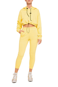 Cropped Hoody and Joggers - Yellow