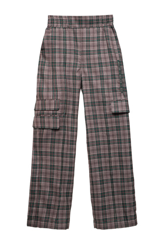 Plaid Wool Cargo Pants