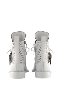 Zelos Art Boots - White Buckle Perforated