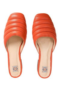 Quilted Leather Mules - Orange