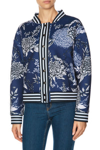 Chrysanthemum Bomber Jacket - Blue