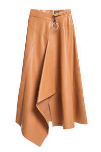 Asymmetric Drape Eco Leather Skirt