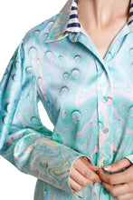 Load image into Gallery viewer, Slit Arm Marble Print Silk Blouse