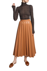 Pleated Eco Leather Skirt