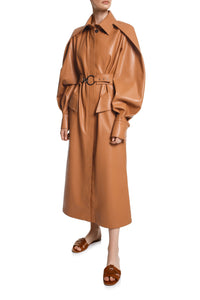 Cape Sleeve Eco Leather Coat
