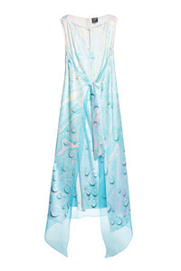 Tie Front Marble Print Silk Dress