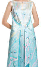 Load image into Gallery viewer, Tie Front Marble Print Silk Dress
