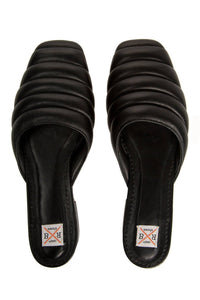 Quilted Leather Mules - Black