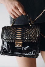 Load image into Gallery viewer, Patent Python Top Handle Envelope Bag