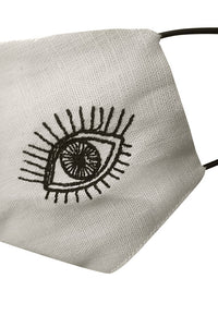Embroidered Eye Mask - Black