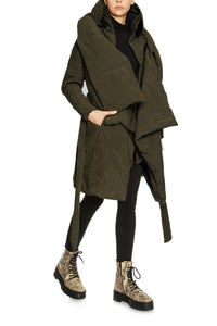 Sculpted Scarf Puffer Coat - Olive