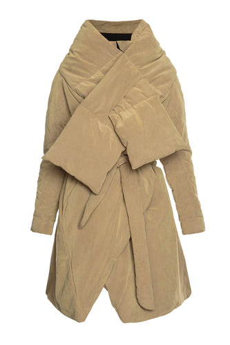 Sculpted Scarf Puffer Coat - Beige