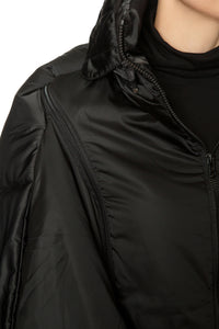 Sculpted Scarf Puffer Coat - Black