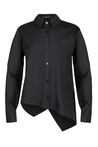 Asymmetric Hem Shirt - Black