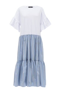 Alia Tiered Dress - White with Blue Stripe