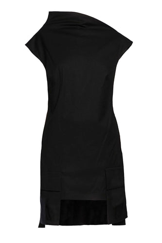 Asymmetric Funnel Collar Dress - Black