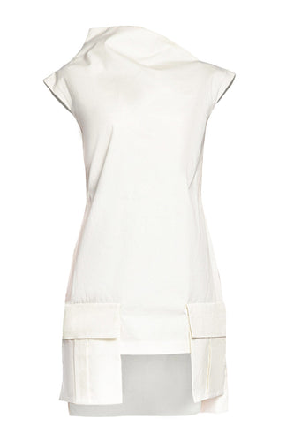 Asymmetric Funnel Collar Dress - White