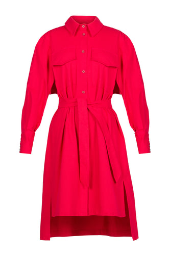 Ruffle Back Cotton Shirtdress - Red