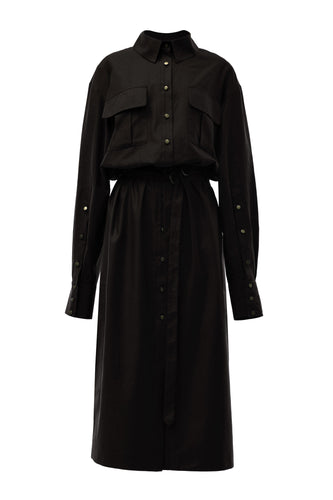 Alexa Long Shirtdress - Black