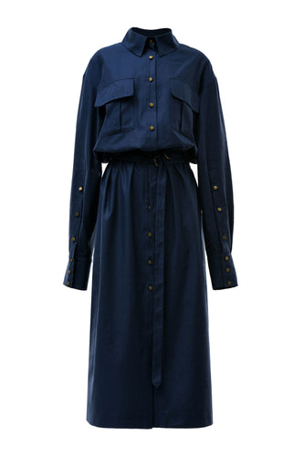 Alexa Long Shirtdress - Blue