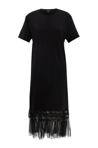 Tulle Hem Tee Shirt Dress - Black
